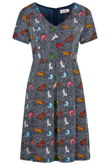 She and Hem | Double Thumbs Dresses #85 | Ronneta Cat Print V-Neck Tea Dress £49 by Louche at Joy