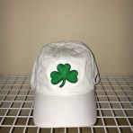 White Nike Cap with Kelly Green Clover