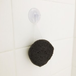 charcoal-facial-sponge-hanging-in-shower