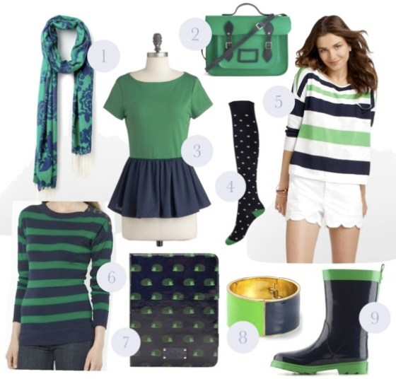 navy and green fashion