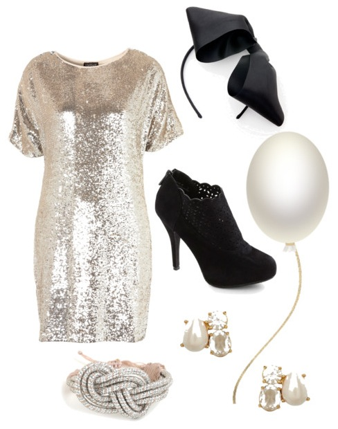 sequin dress bow party look