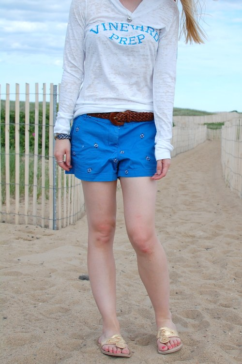 preppy beach sweatshirts; nautical shorts