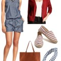 Chambray Romper; Labor Day Fashion