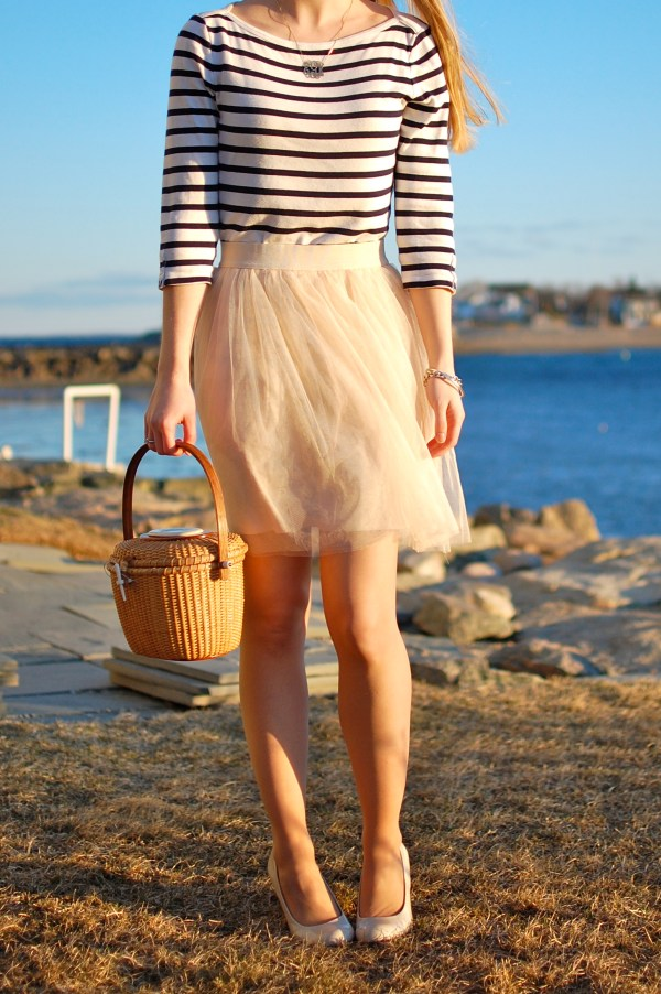 Striped Tee Tulle Skirt