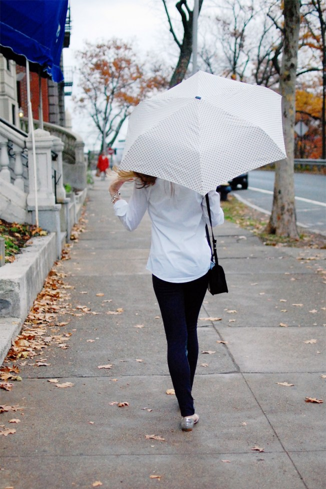navy dot umbrella