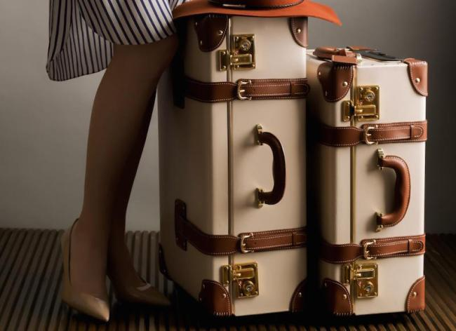 Cream Vintage Steamer Luggage