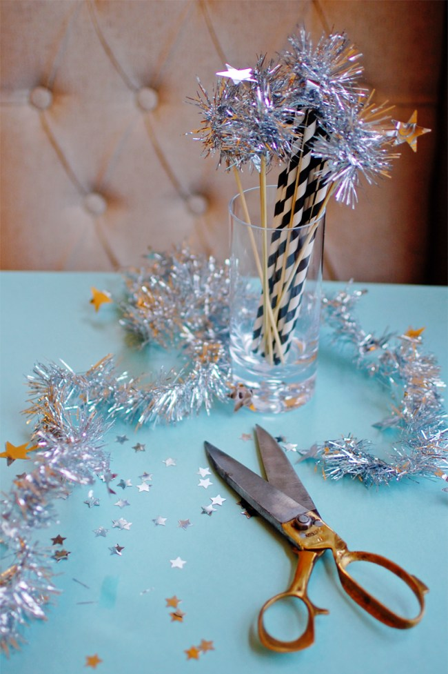 DIY Tinsel Drink Stirrers