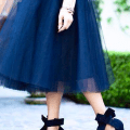 Navy Tulle Skirt Bow Heels
