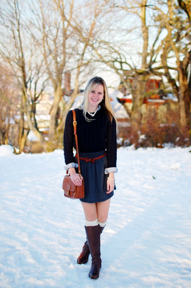 Navy Cable Knit Sweater Outfit