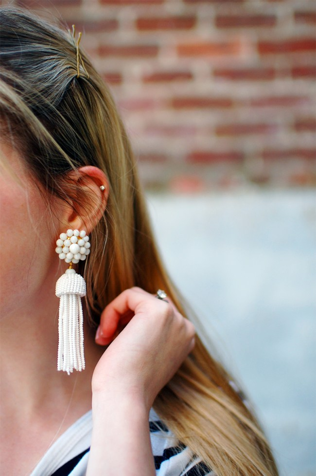 Lisi Lerch White Tassel Earrings