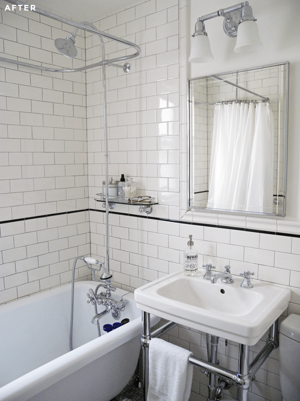 Small Bathroom White Subway Tile Remodel