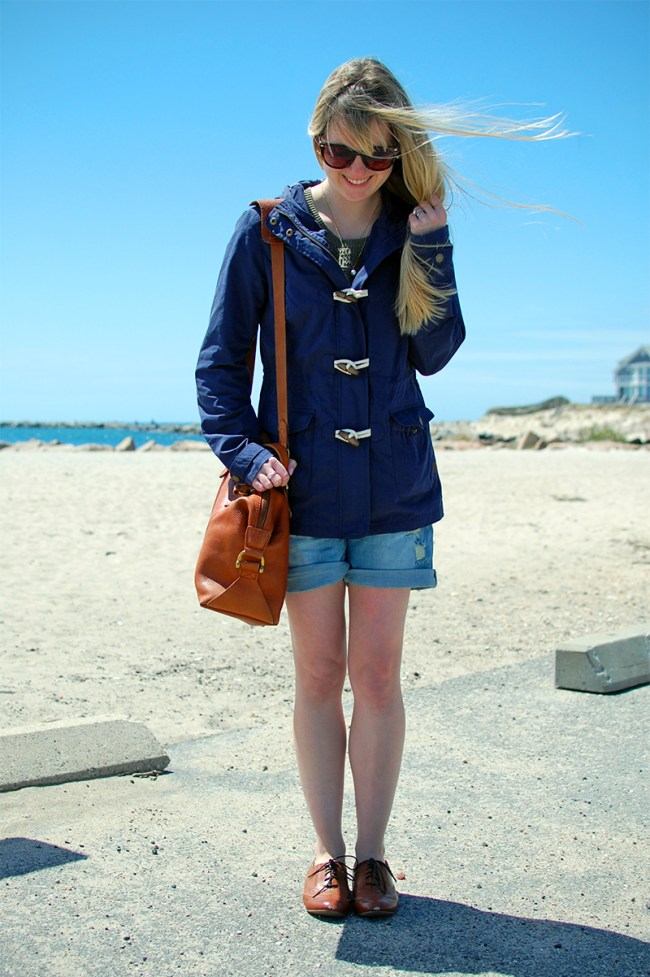 navy hooded raincoat