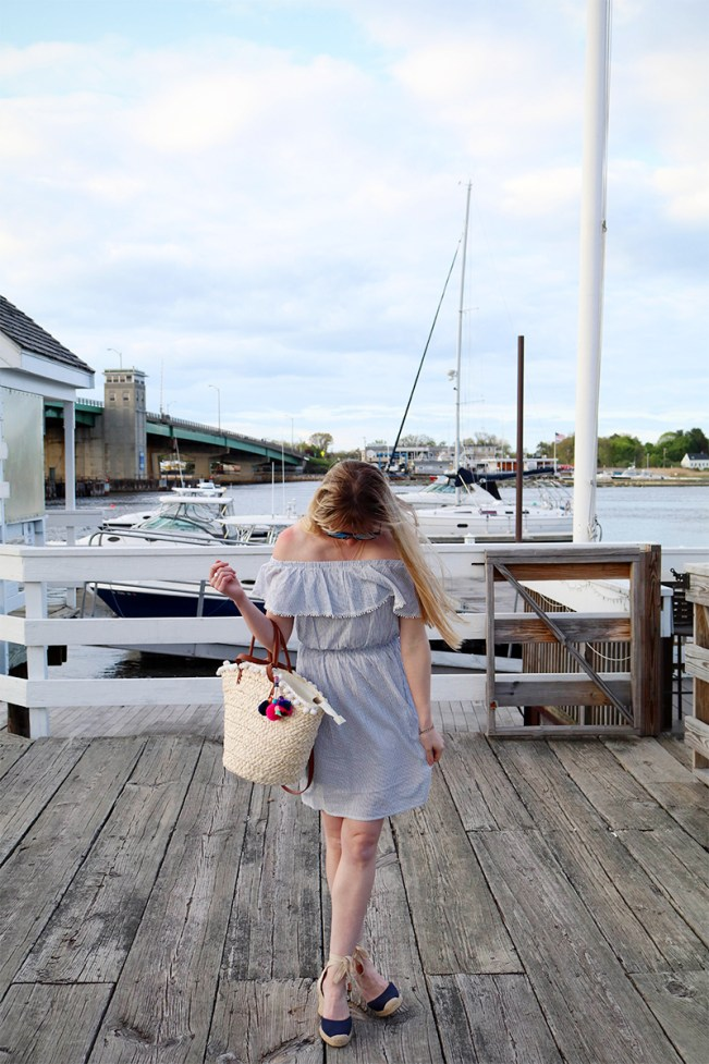 blue white striped off the shoulder dress