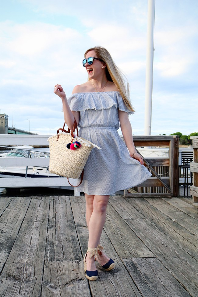 tassel off the shoulder dress