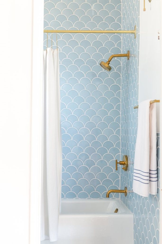 blue mermaid tile shower