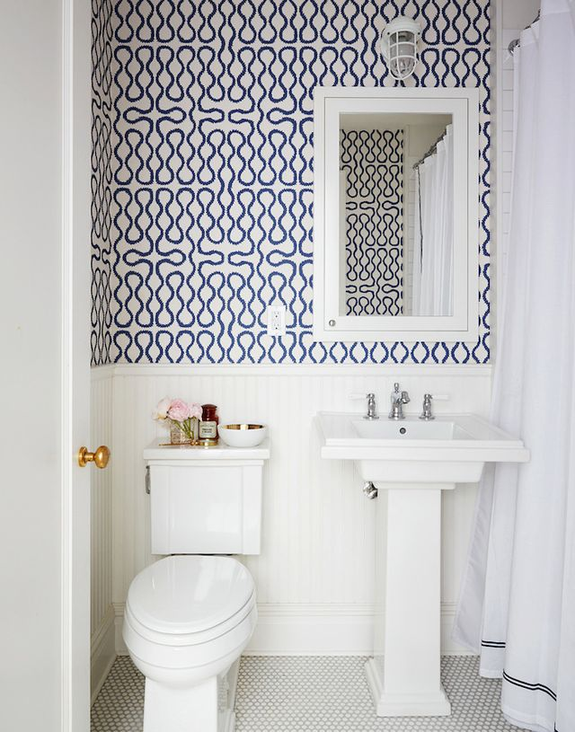 blue white wallpaper bathroom