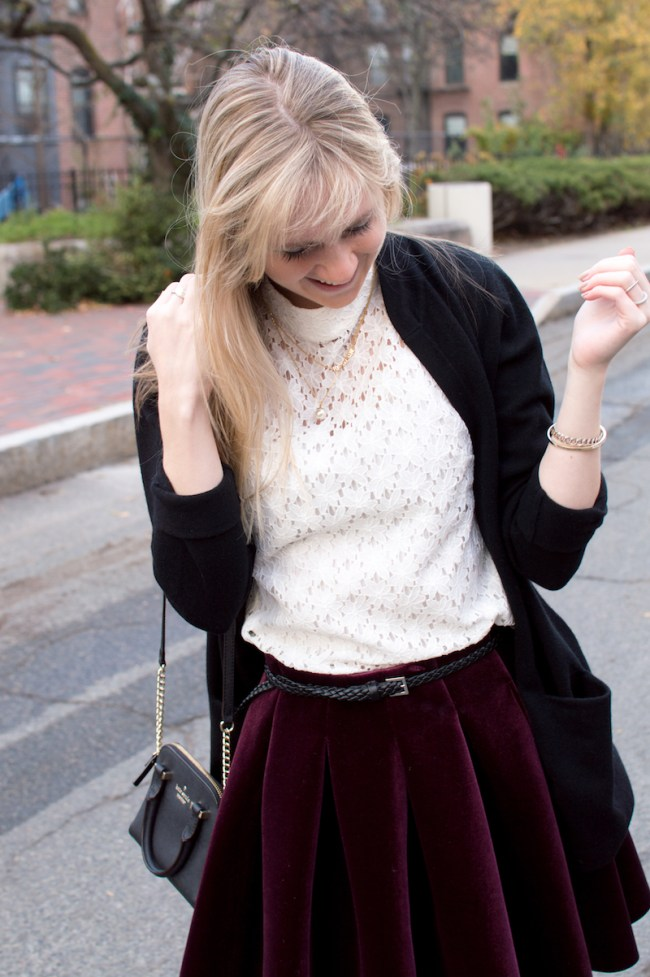 white lace turtleneck top