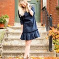 navy flounce dress