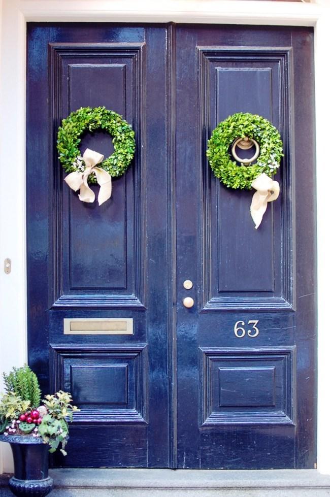 black door with wreath beacon hill