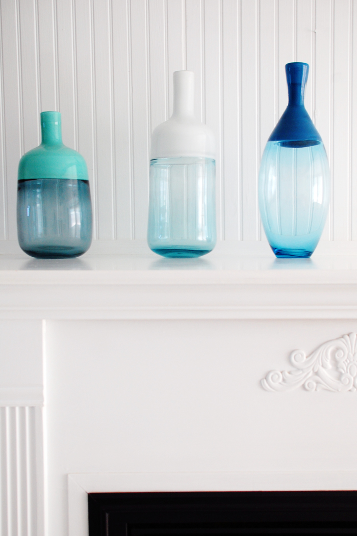 how to display glass bottles