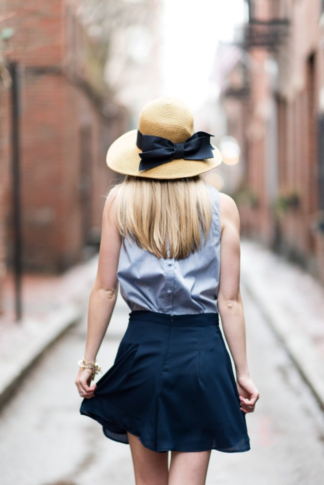 paper crown chambray button back top; navy bow straw hat