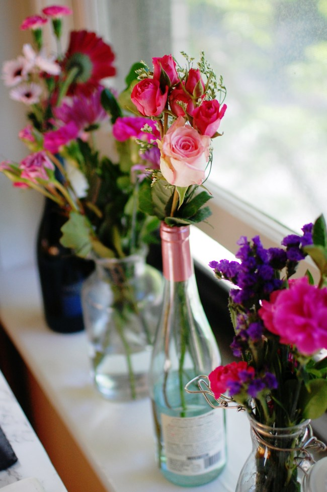 wine bottle flower vases