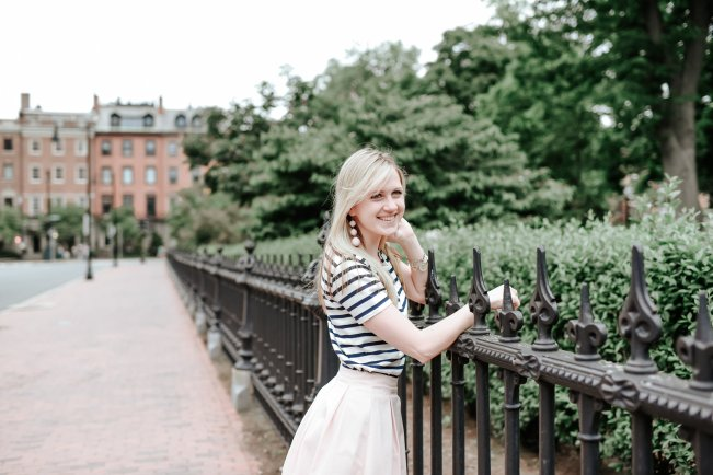 j.crew striped peplum tee