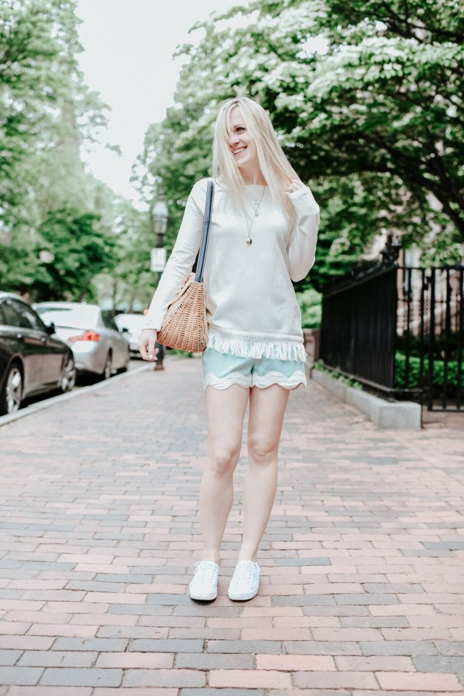 sail to sable mint green scallop shorts