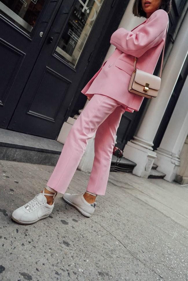 pantone ballet slipper; aimee song millennial pink pantsuit