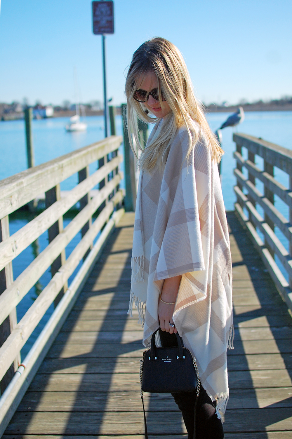 cream tan plaid poncho