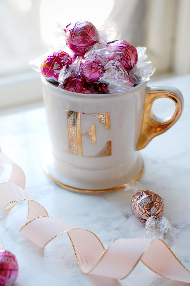 anthropologie gold monogram mug