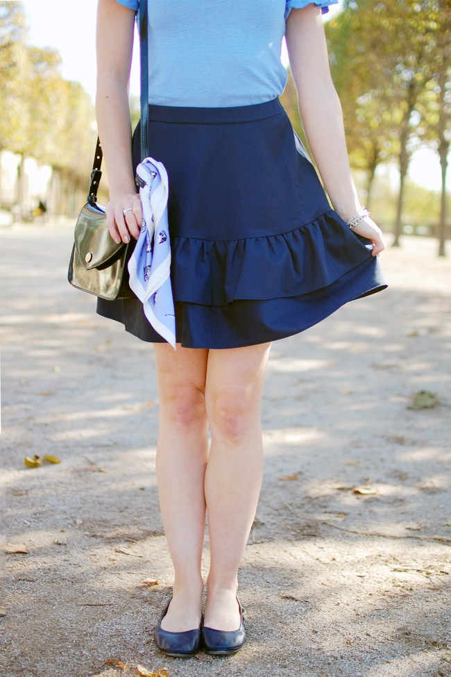 j.crew navy tiered ruffle skirt