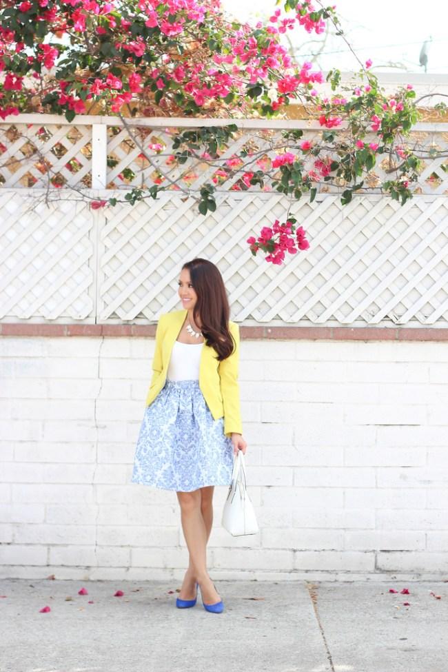 light blue and white chinoiserie skirt stylish petite