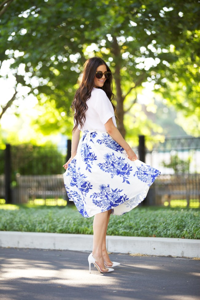 blue and white midi skirt pink peonies