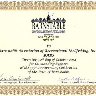 Barnstable 375 Years Certificate to BARS