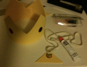 Gluing and Stapling my Princess Peach Crown