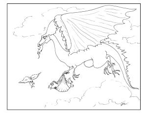 S.Mac's Dragon Art Coloring Page, Dragon Daddy and Baby