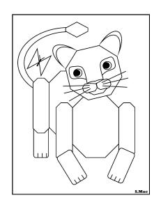 S.Mac's Geo Lion Cub Coloring Page