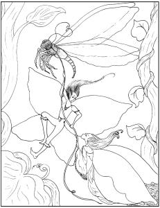 S.Mac's Fairy Coloring Page, To Catch a Dragonfly