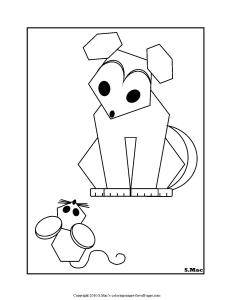 Geo Pet Coloring Page, GEO Puppy & Mouse