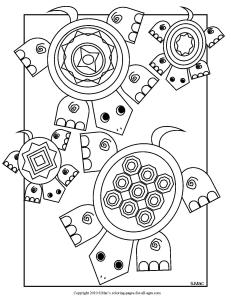 S.Mac's Geo Turtles Coloring Page
