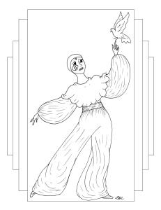 S.Mac's Pierrot Coloring Page, Pierrot with Bird