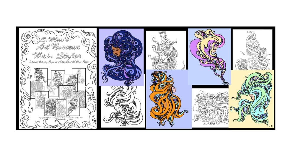 Samples of Art Nouveau Hairstyles by Sheri McClure-Pitler, some of which can be found in a downloadable coloring book.