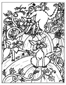 S.Mac's Halloween Cats in the Pumpkin Patch Coloring Page