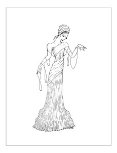 Art Deco Coloring Page, Deco Gal in Broomstick Dress