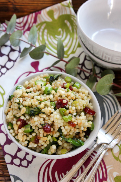 Pearl Couscous with Greens, Israeli couscous salad