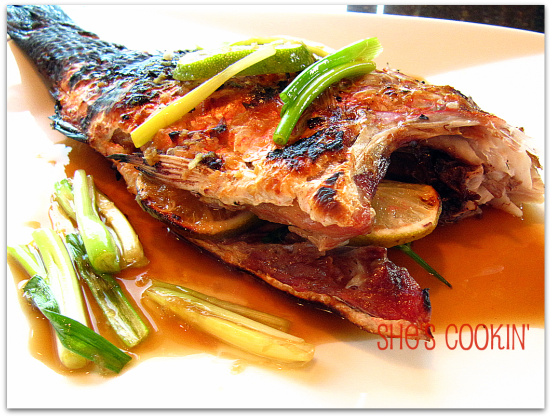 red snapper with soy ginger sauce, fish for Chinese New Years
