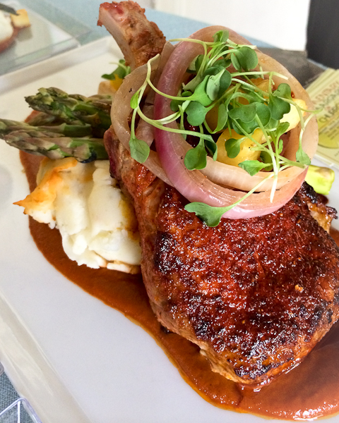 French pork al pastor, jalapeno potato puree, caramelized pineapple and onions, grilled asparagus, al pastor sauce