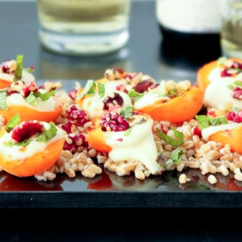 Farro with Apricots, Fresh Mozzarella, and Red Walnuts