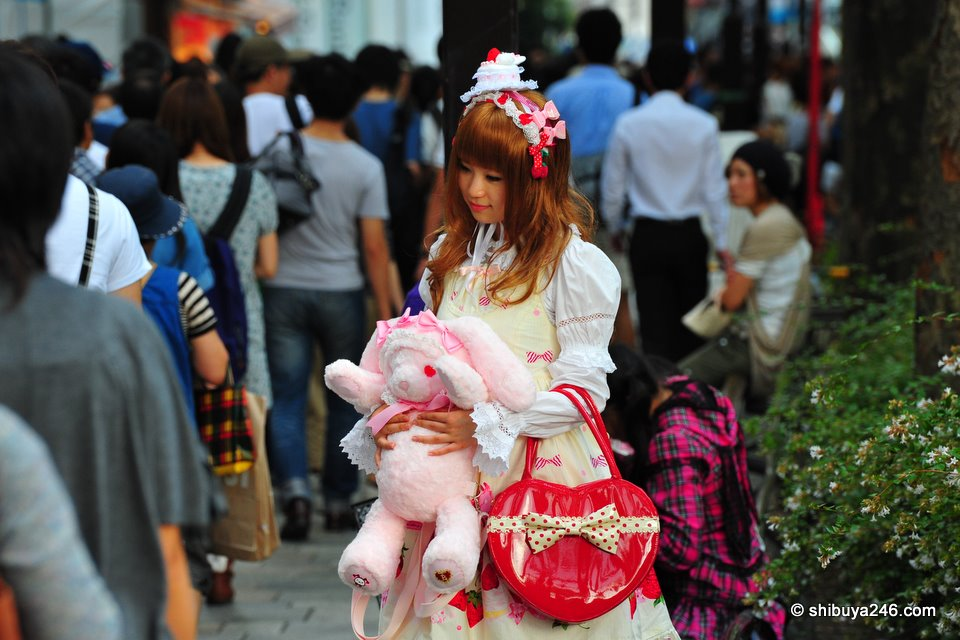 The stuffed rabbit and heart bag are great accessories for this cute girl